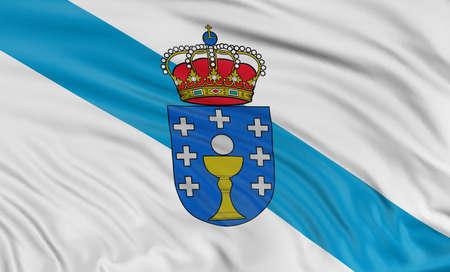 galizia: 3D Galizia bandiera Archivio Fotografico