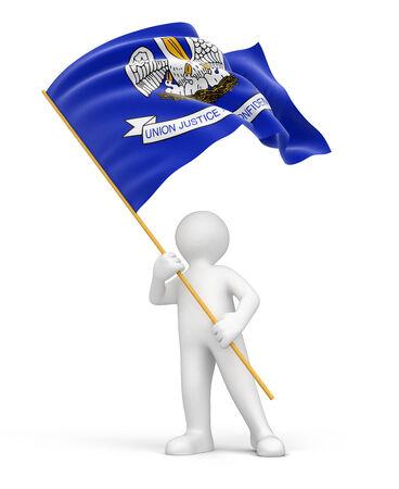 louisiana flag: Man and flag of Louisiana  clipping path included