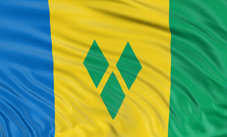 grenadines: 3D flag of Saint Vincent and the Grenadines