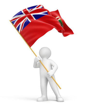 manitoba: Man and flag of Manitoba  clipping path included  Stock Photo