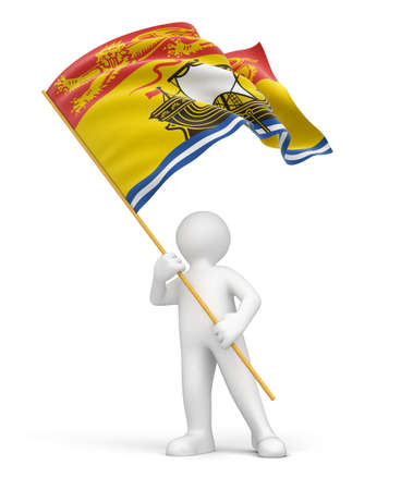 Man and flag of New Brunswick  clipping path included  photo