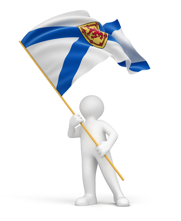 expressing positivity: Man and flag of Nova Scotia  clipping path included