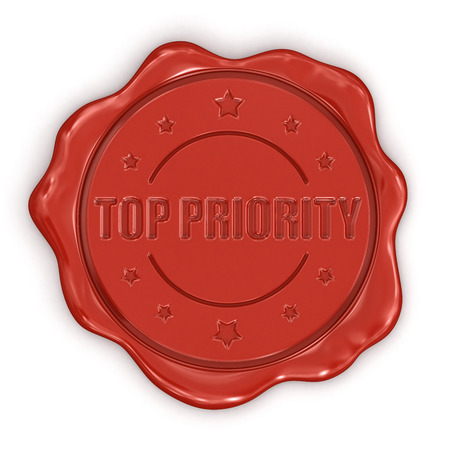 Passed out: Wax Stamp Top Priority  clipping path included  Stock Photo