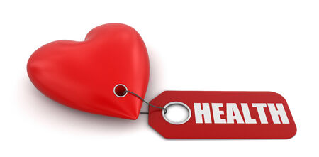 heart health: Heart with label Health Stock Photo