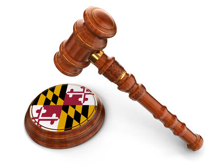 maryland flag: Wooden Mallet and flag Of Maryland Stock Photo