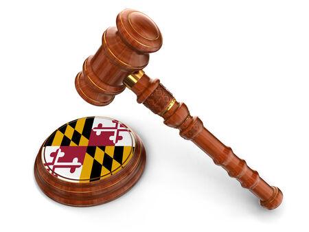 Wooden Mallet and flag Of Maryland Reklamní fotografie