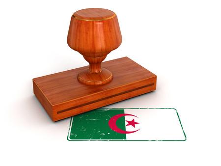 algerian flag: Rubber Stamp Algerian flag Stock Photo