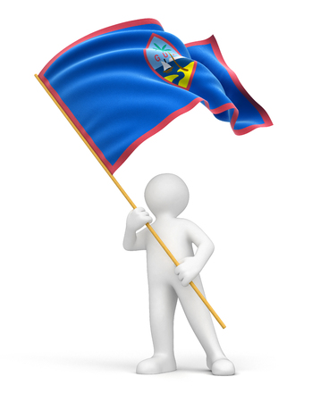 guam: Man and Guam flag  clipping path included