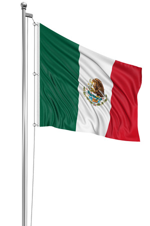 mexican flag: 3D Mexican flag   clipping path included  Stock Photo