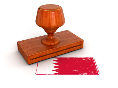 Rubber Stamp Bahrain flag  clipping path included  photo
