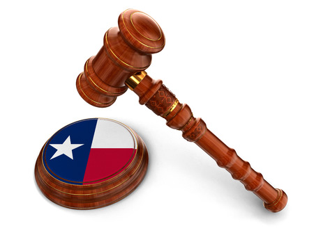 business law: Wooden Mallet and flag Of Texas  clipping path included