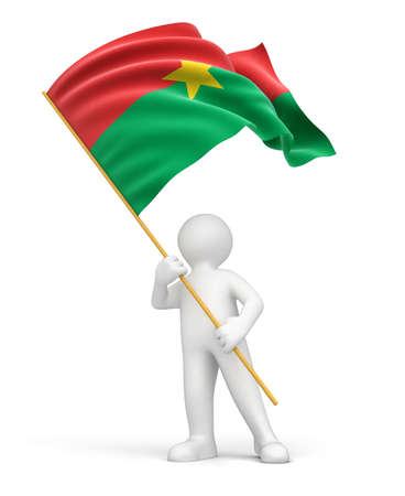 burkina faso: Man and Burkina Faso flag  clipping path included
