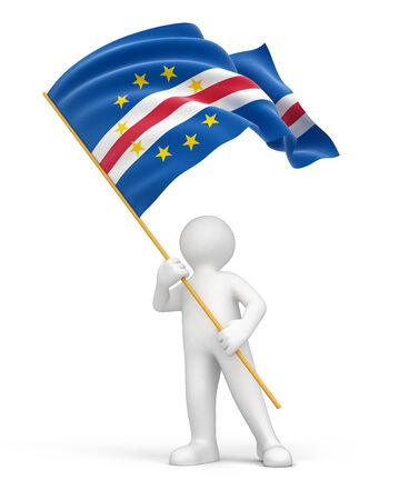 cape verde flag: Man and Cape Verde flag  clipping path included  Stock Photo