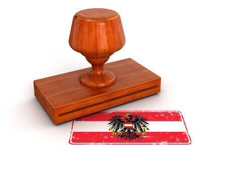 Rubber Stamp Austrian flag  clipping path included  photo