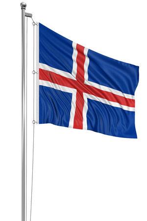 icelandic flag: Trazado de recorte bandera islandesa 3D incluido