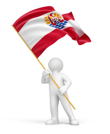Man and French Polynesia flag  clipping path included