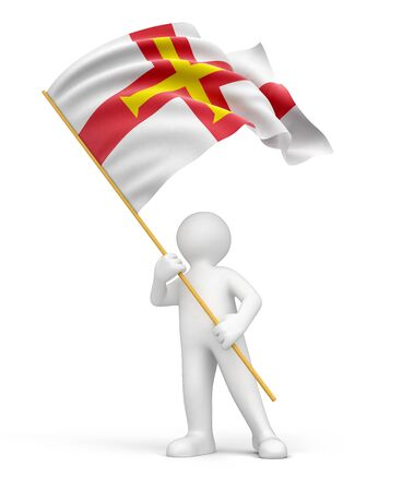 guernsey: Man and Guernsey flag  clipping path included