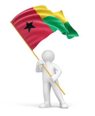 guinea bissau: Man and Guinea-Bissau flag  clipping path included