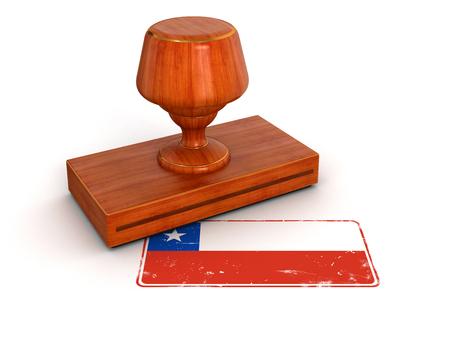 chilean flag: Sello de goma trazado de recorte bandera chilena incluido