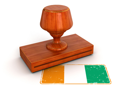 cote d'ivoire: Rubber Stamp Cote d ivoire flag  clipping path included  Stock Photo