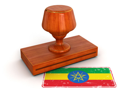 ethiopia flag: Rubber Stamp Ethiopia flag  clipping path included
