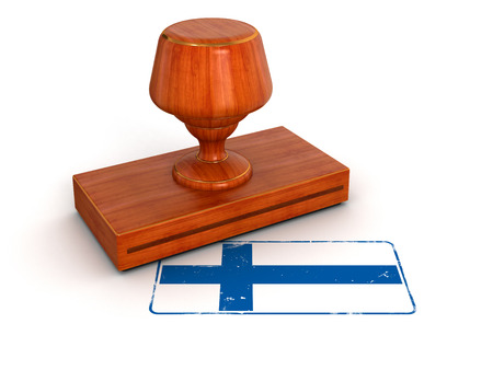 Rubber Stamp Finnish flag  clipping path included  photo