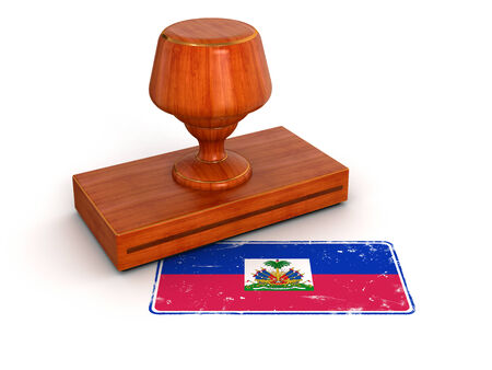 haitian: Rubber Stamp Haitian flag  clipping path included