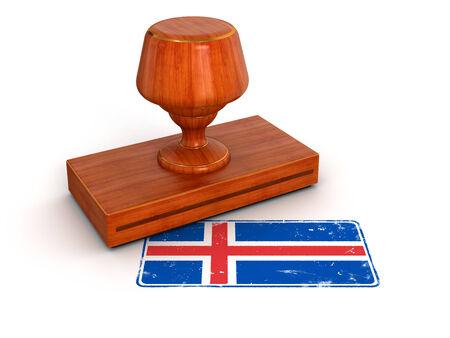 icelandic flag: Sello de goma trazado de recorte incluidos bandera islandesa Foto de archivo