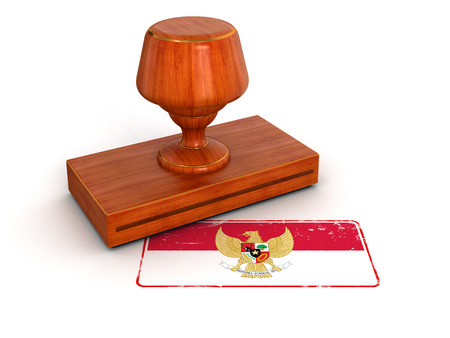 the indonesian flag: Rubber Stamp Indonesian flag  clipping path included