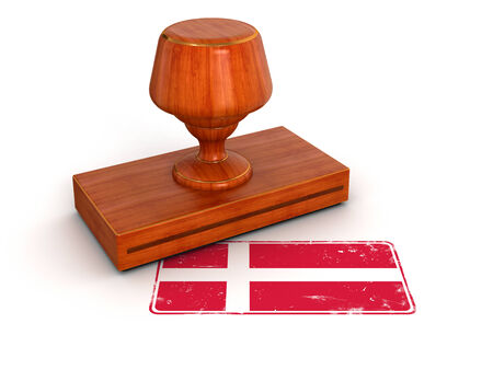 Rubber Stamp Danish flag  clipping path included  photo