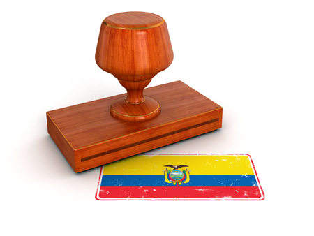 Rubber Stamp Ecuadorian flag  clipping path included  photo