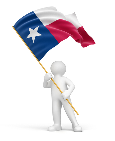 Man and flag of Texas  clipping path included