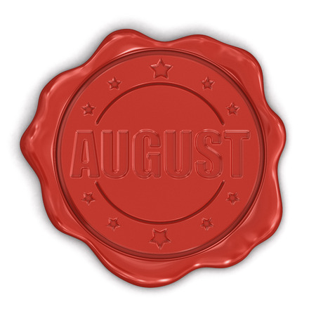 Wax Stamp august  clipping path included  Stock Photo - 25173926