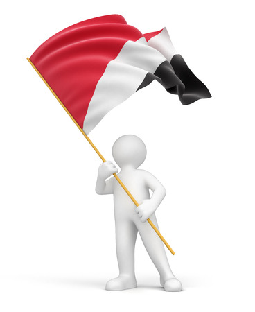 sealand: Man and Sealand flag  clipping path included  Stock Photo