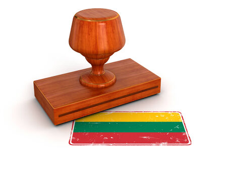 Rubber Stamp Lithuanian flag  clipping path included  photo