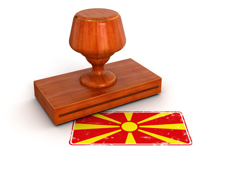 macedonian flag: Rubber Stamp Macedonian flag  clipping path included