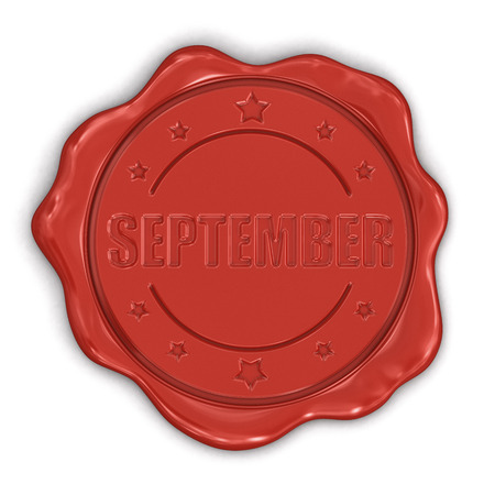 Wax Stamp september  clipping path included  Stock Photo - 25173946