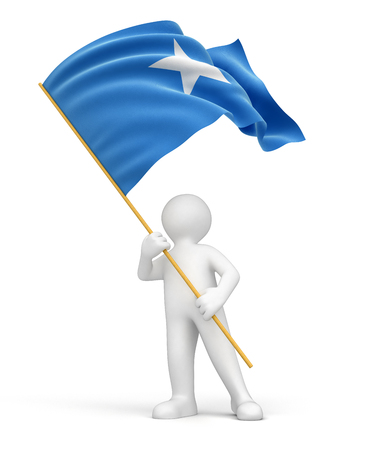 somali: Man and Somali flag  Stock Photo