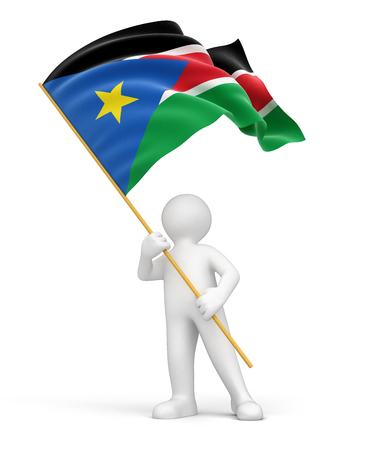 south sudan: Man and South Sudan flag