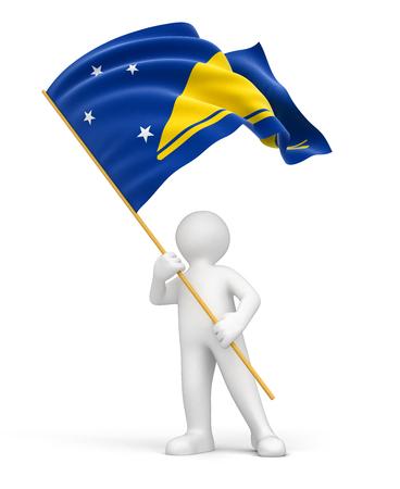 tokelau: Man and Tokelau flag  included  Stock Photo