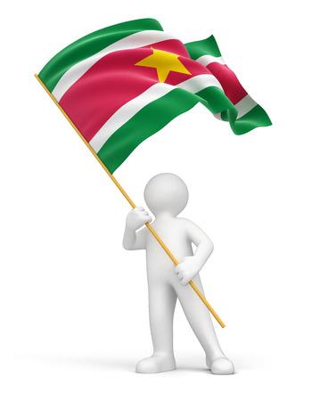 suriname: Man and Suriname flag