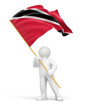trinidad and tobago: Man with Trinidad and Tobago flag Stock Photo
