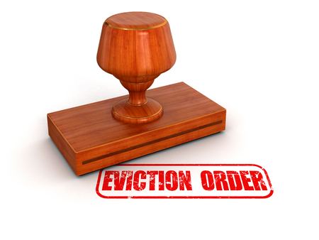 evicted: Rubber Stamp eviction order   clipping path included  Stock Photo