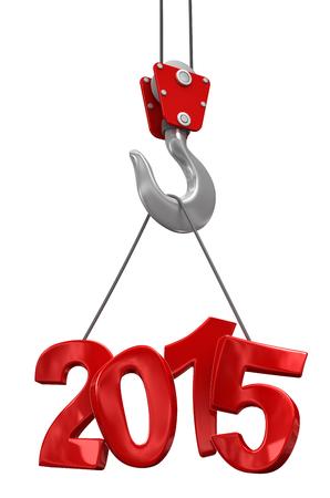 Getallen 2015 op kraan haak Stockfoto