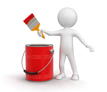 Man with paint can and brush (clipping path included) photo