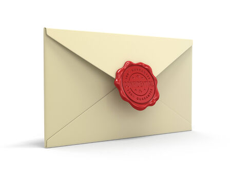 wax stamp: Confidential letters with wax stamp (clipping path included)