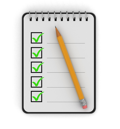 medical decisions: Notepad Checklist  Stock Photo