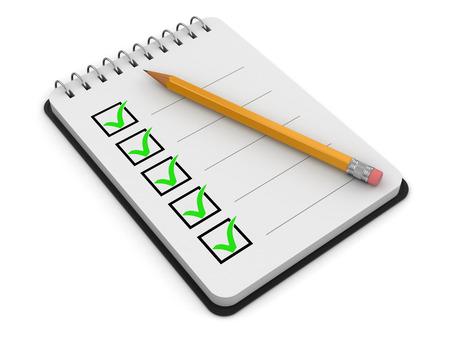 メモ帳のチェックリスト 写真素材
