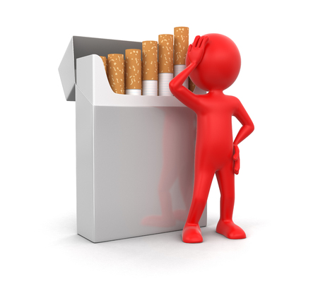 cigarette pack: Man and Cigarette Pack   Stock Photo