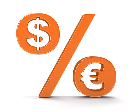 percentage sign: Percentage Sign with dollar and euro Stock Photo